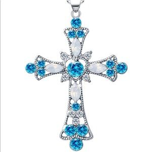 NEW TURQUOISE CRYSTAL HEART CROSS PENDANT NECKLACE